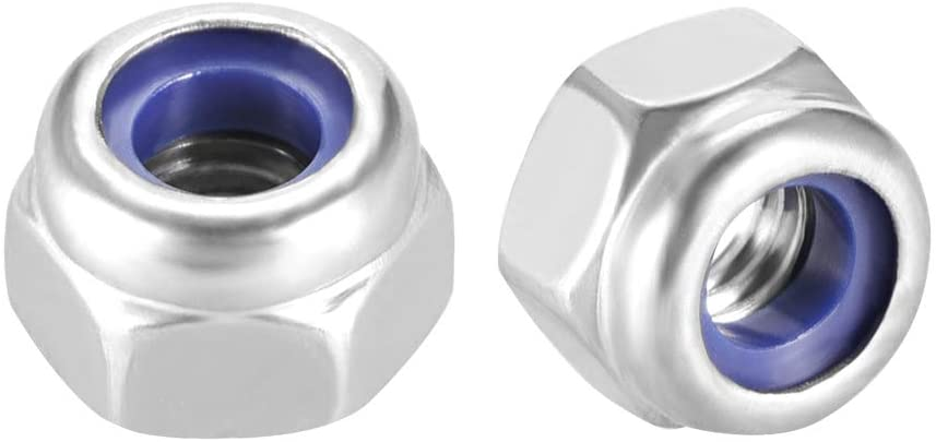 uxcell M4 x 0.7mm Nylon Insert Hex Lock Nuts, 304 Stainless Steel, Plain Finish, Pack of 20