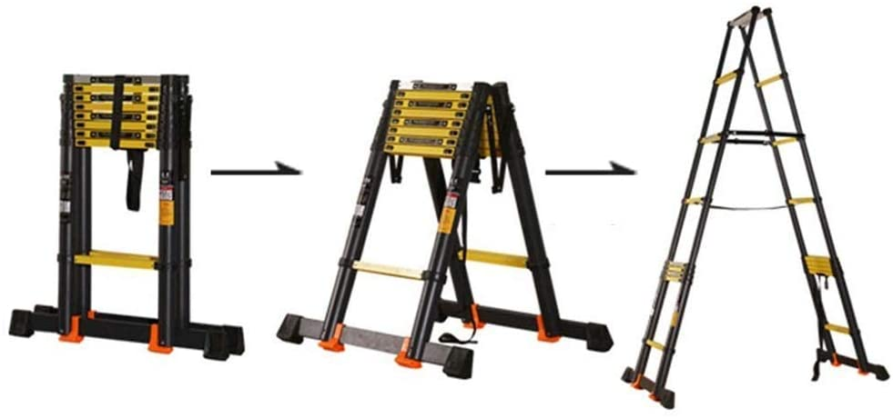 LADDERS Ladder Telescopic Ladders,8.8Ft Atelescoping Extension Ladder for Engineering Loft, Black Durable Heavy Duty Telescopic Ladder, 330Lbs Capacity