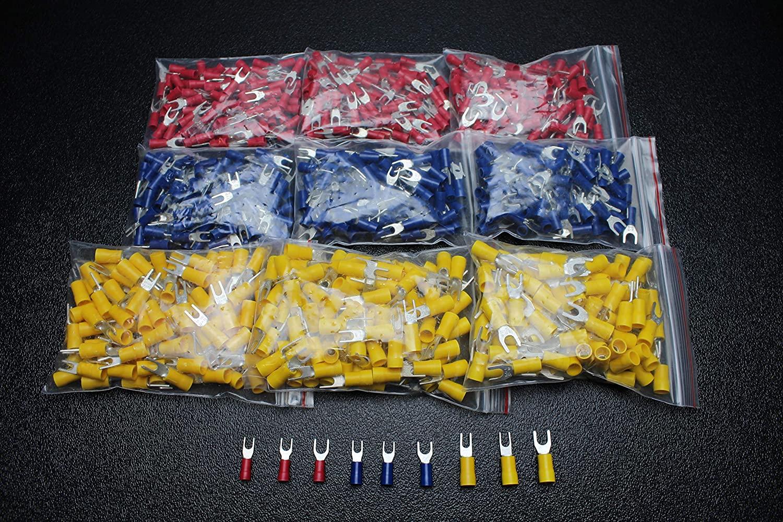 1800 PK 10-12 14-16 18-22 Gauge Vinyl Spade CONNECTORS 200 PCS Each #6#8#10