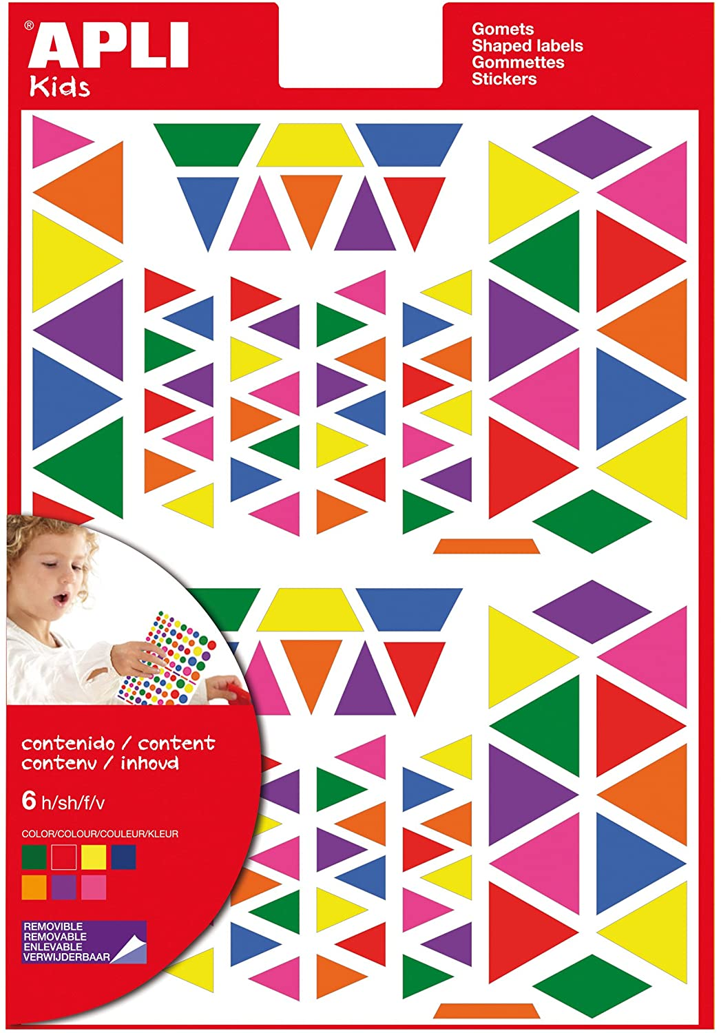 Apli 946028 - Triangular stickers multicoloured - 6 sheets