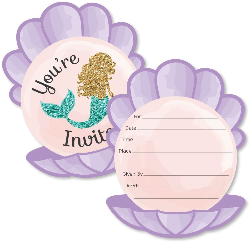 Let's Be Mermaids - Shaped Fill-in Invitations - Baby Shower or Birthday Party Invitation Cards with Envelopes - Set of 12