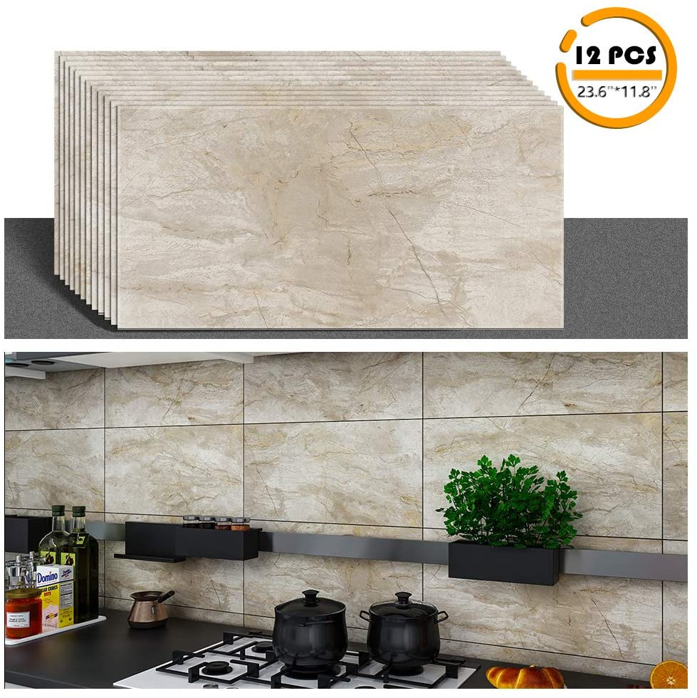 VEELIKE 12 Pcs 23.6x11.8 Granite Tile Marble Peel and Stick Floor Tiles Vinyl Flooring for Bathroom Backsplash Tile for Kitchen Waterproof Adhesive Tile Stickers Decals for Bathroom Wall Decor