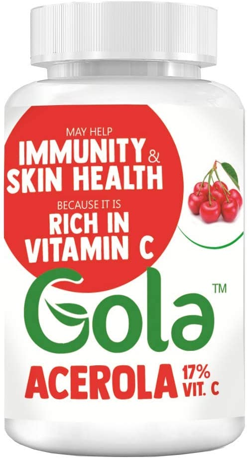 Gola Acerola Extract 17% Natural Vitamin C in Vegan Capsules 60 caps - Source of Vitamin C, Immunity and Skin Health, Product from Brazil