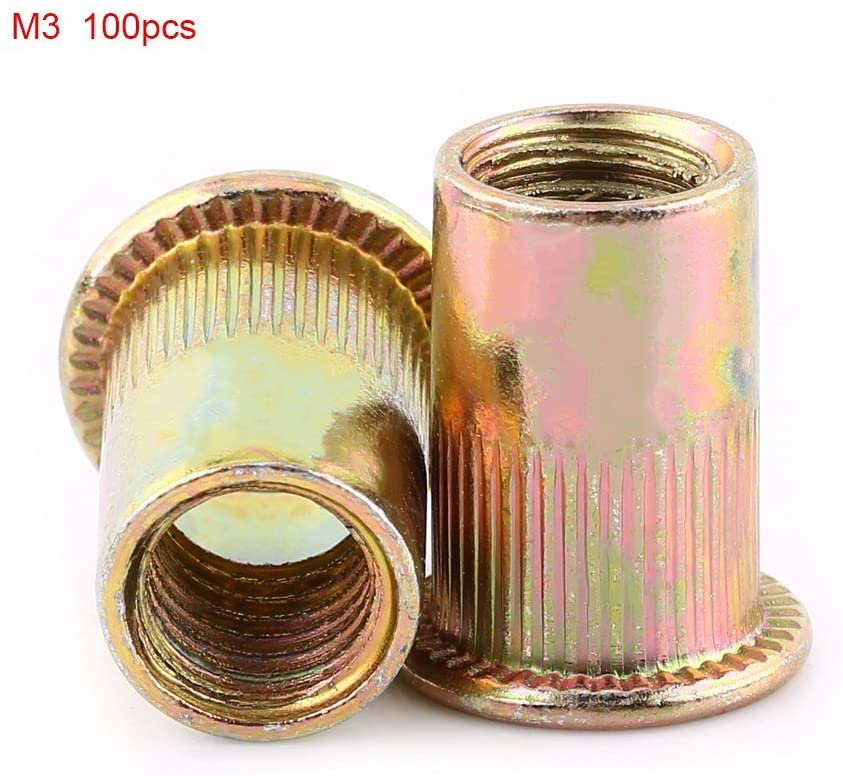 M3-M12 Carbon Steel Flat Threaded Rivet Nut, Flange Rivnut, Nutsert, Fastener, Knurled Steel Head Nutserts(M3(100个/包))