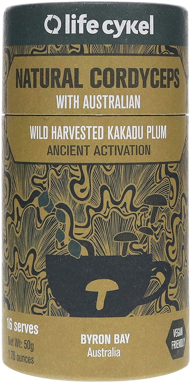 Life Cykel 100% Natural Cordyceps Mushroom with Australian Wild Harvested Kakadu Plum - Ancient Fuel for The Modern World - Energy, Improved Endurance & Daily Performance - (16 Servings) - 50g Powder