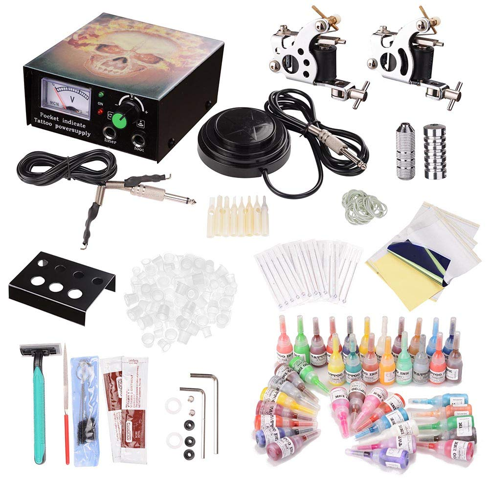 YeStarry Complete Tattoo Kit 2 Machine Guns 10 Wrap 40 Inks LCD Power Supply Foot Switch Equipment Set Carrying Case