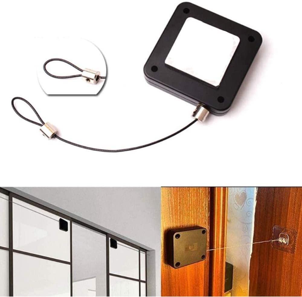2pcs Punch-Free Automatic Sensor Door Closer, Multifunctional Automatic Door Closer, Automatically Close All Doors, Self Closing Door with Drawstring for Internal Home Outdoor Iron Door