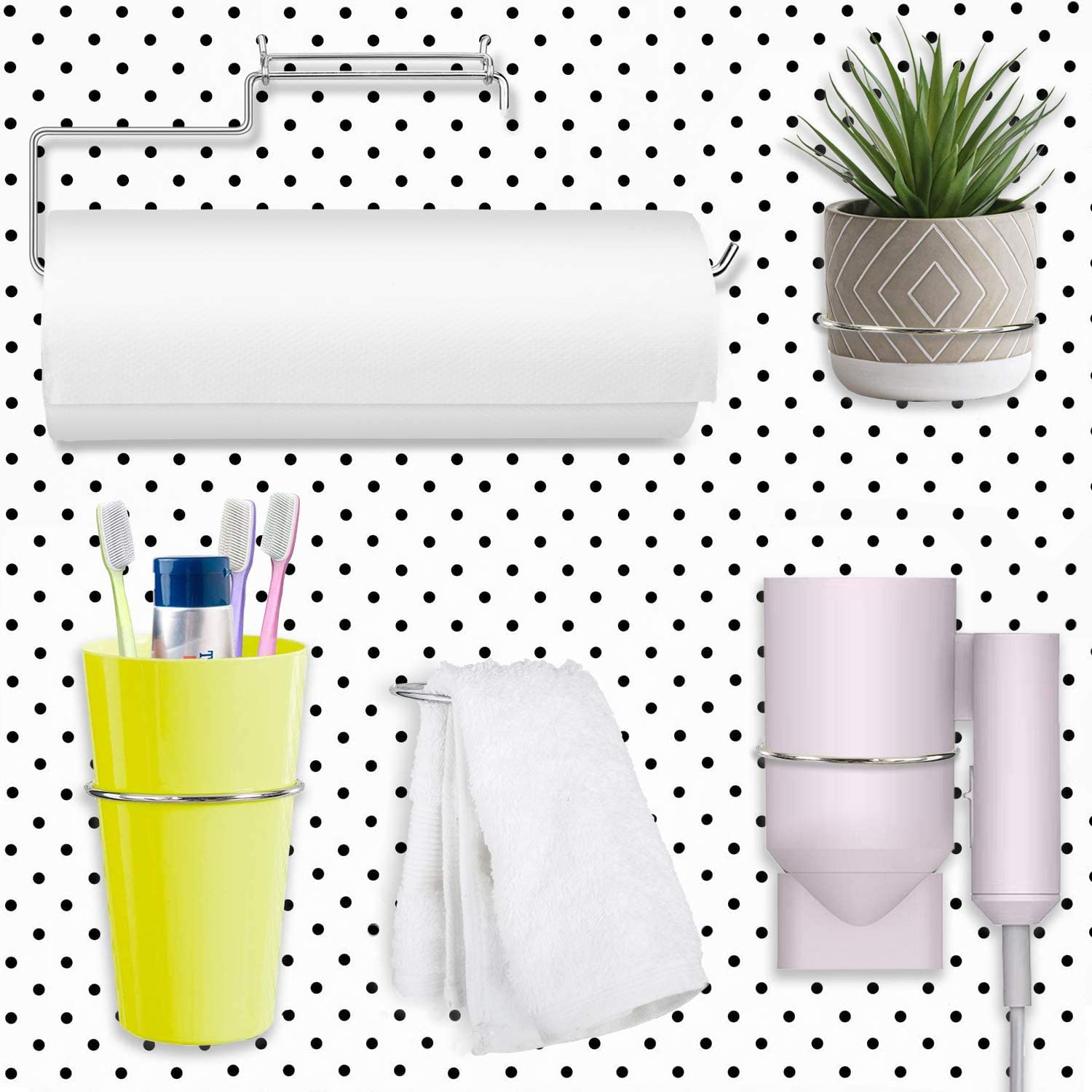 Pegboard Hooks Set Pegboard Paper Towel Holder, 4 Pieces Ring Style Pegboard Hooks Pegboard Organization Accessory Hook for Workshop Garage Kitchen Laundry Room Bathroom