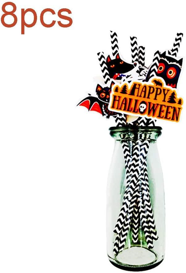 8 Pcs Halloween Paper Straws Pumpkin Bat Spider Web Skeleton Pattern Straws Orange Paper Drinking Straws Festival Accessories