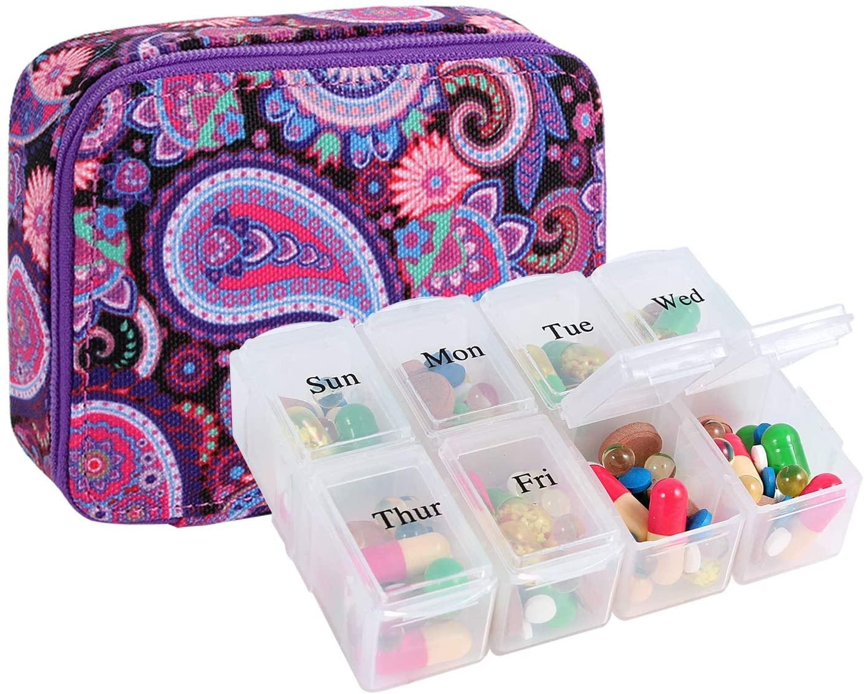 Pill Organizer Case, Weekly Pill Box for Vitamin and Supplement Holder, 7-Day Travel Organizer Medicine Case (Purple)