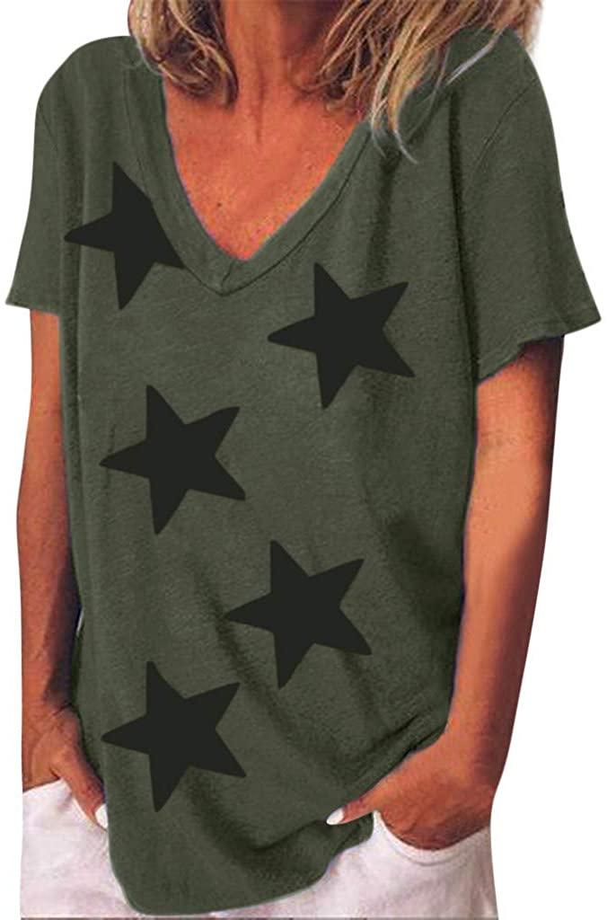 Xinantime Womens Star Printed Comfort Tee Shirts Casual V-Neck Short Sleeve T-Shirt Blouse Top