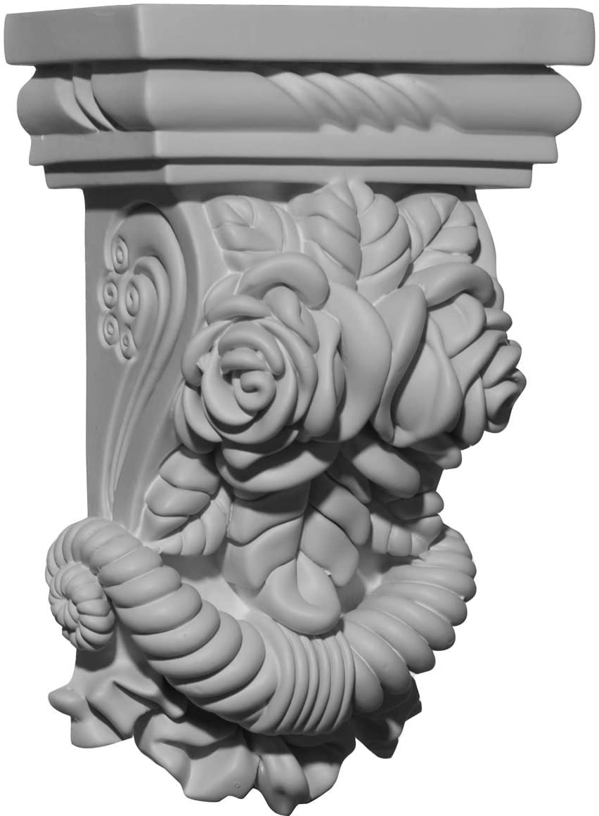 Ekena Millwork COR05X02X08RO-CASE-2 5 1/4 inch W x 2 3/4 inch D x 8 1/8 inch H Rose Corbel (2-Pack),