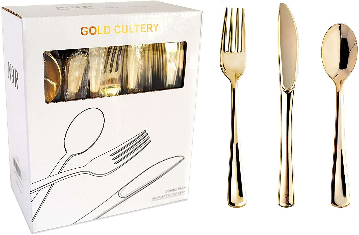 N9R 160 Gold Plastic Silverware - Gold Plastic Cutlery Set -80 Gold Forks, 40 Gold Spoons, 40 Gold Knives Disposable Gold Cutlery for Party Bulk