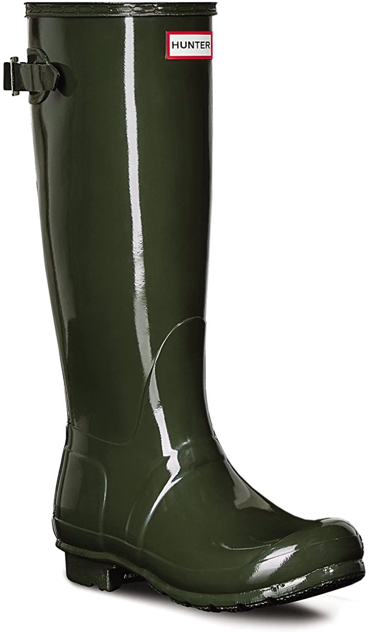 HUNTER Womens Original Adjustable Back Gloss Waterproof Winter Rain Boot - Dark Olive - 5