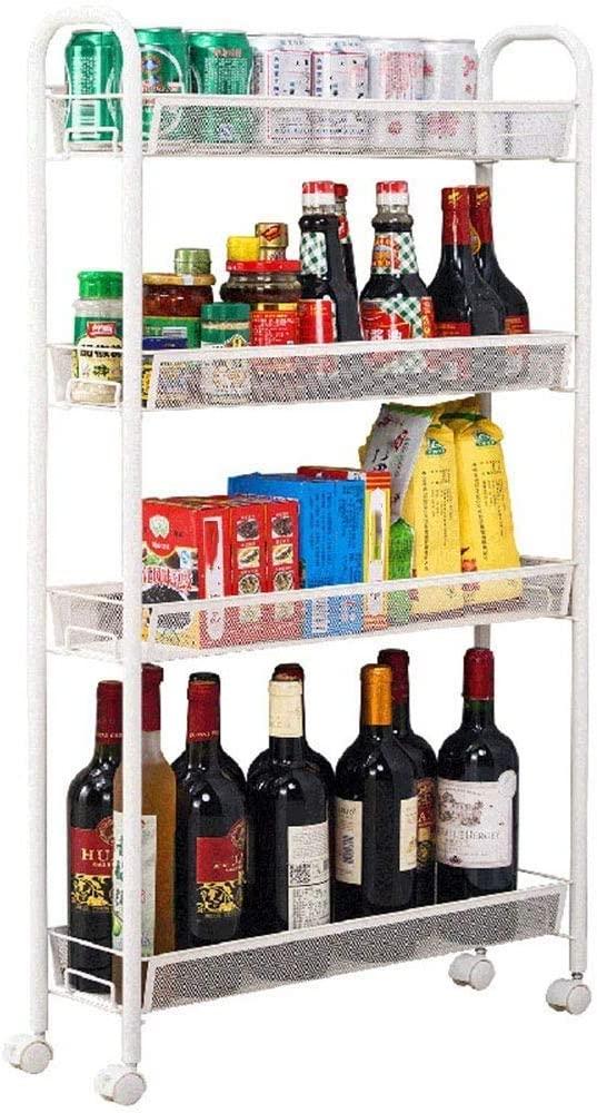LHQ-HQ Kitchen shelf Kitchen Wine Rack, 4Layer Snack Tray, Spice Rack, Living Room Trolley 55 15 105CM trolley