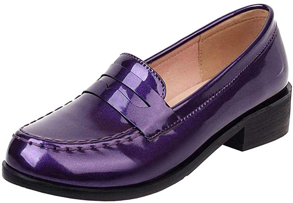 Caradise Women's Patent Leather Loafers Block Heel Slip On Casual Shoes