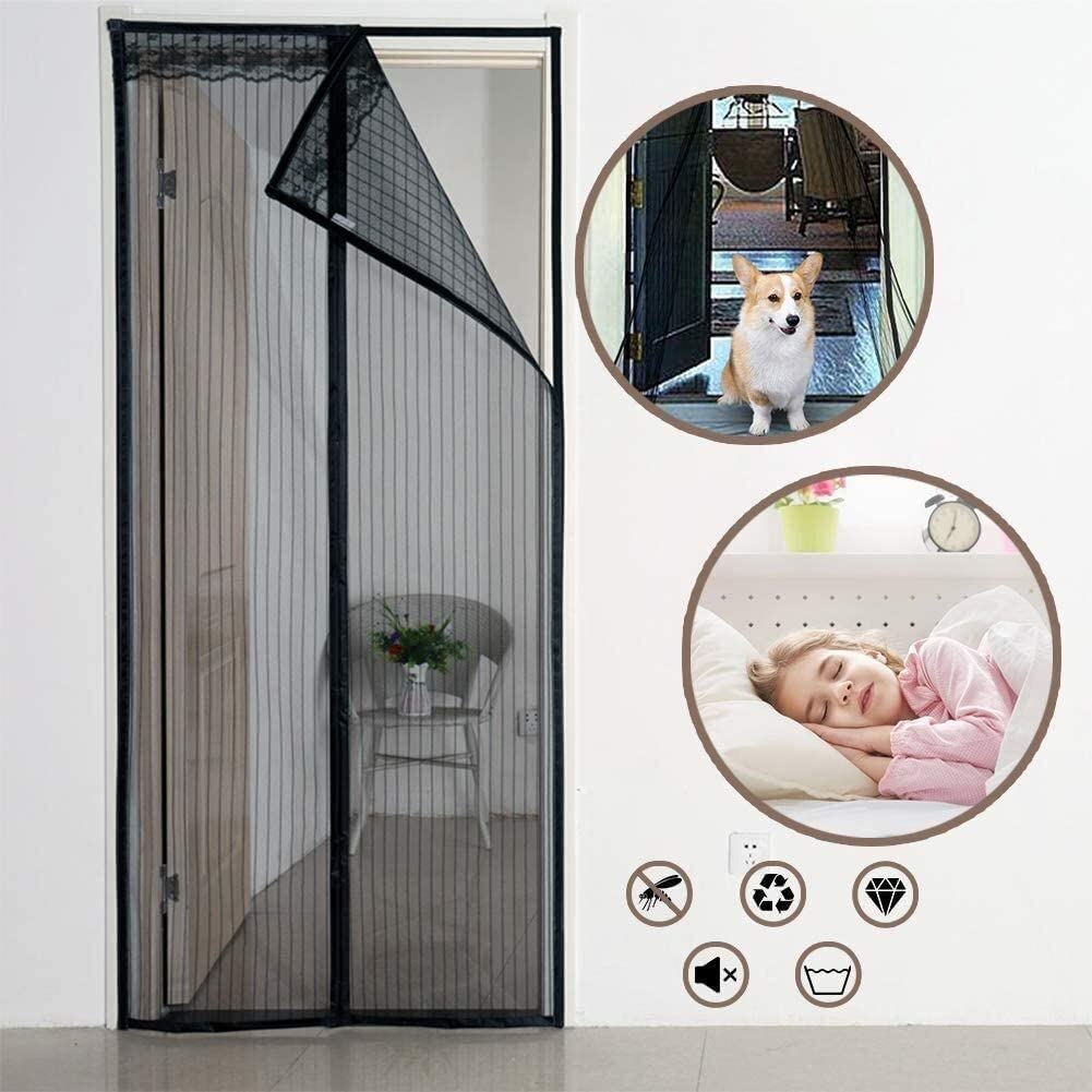 LAMZ Magnetic Screen Door Black,Durable Fiberglass Mesh Curtain Heavy Duty Magnets for Garage Balcony French Sliding Doors Hands Free Insect Screen Door 0728 (Color : -, Size : 160x210cm(63x83inch))