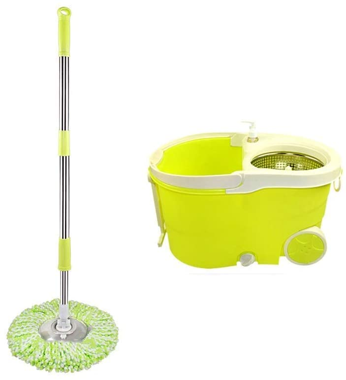 YF-CHEN Mop and Bucket Mop and Bucket Cleaning Set Hangable Hand Pressure Separable Green Dual Drive Head2 Cleaning Set