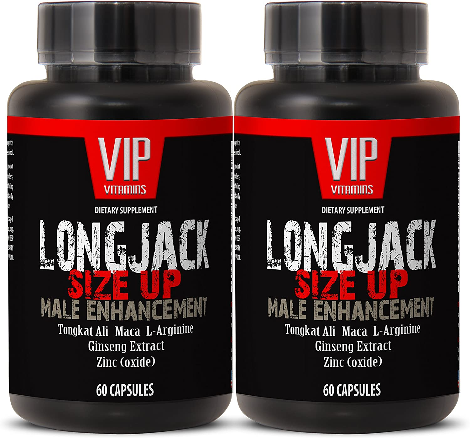 Longjack Size Up 2170mg - Male Enhancement - Natural Testosterone Booster - Premium Quality (2 Bottles 120 Capsules)