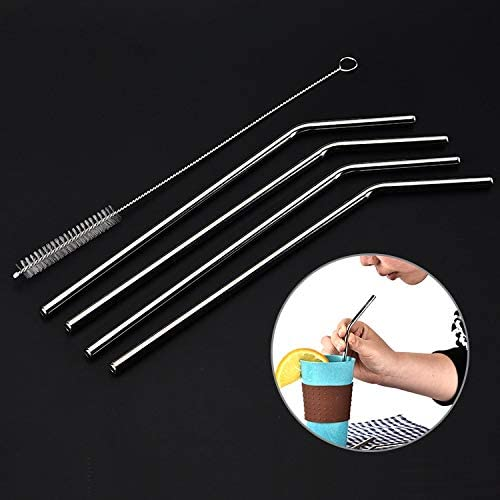 JIN Drinking Tools Reusable Stainless Steel Drinking Straw Cleaner Brush Set Kit