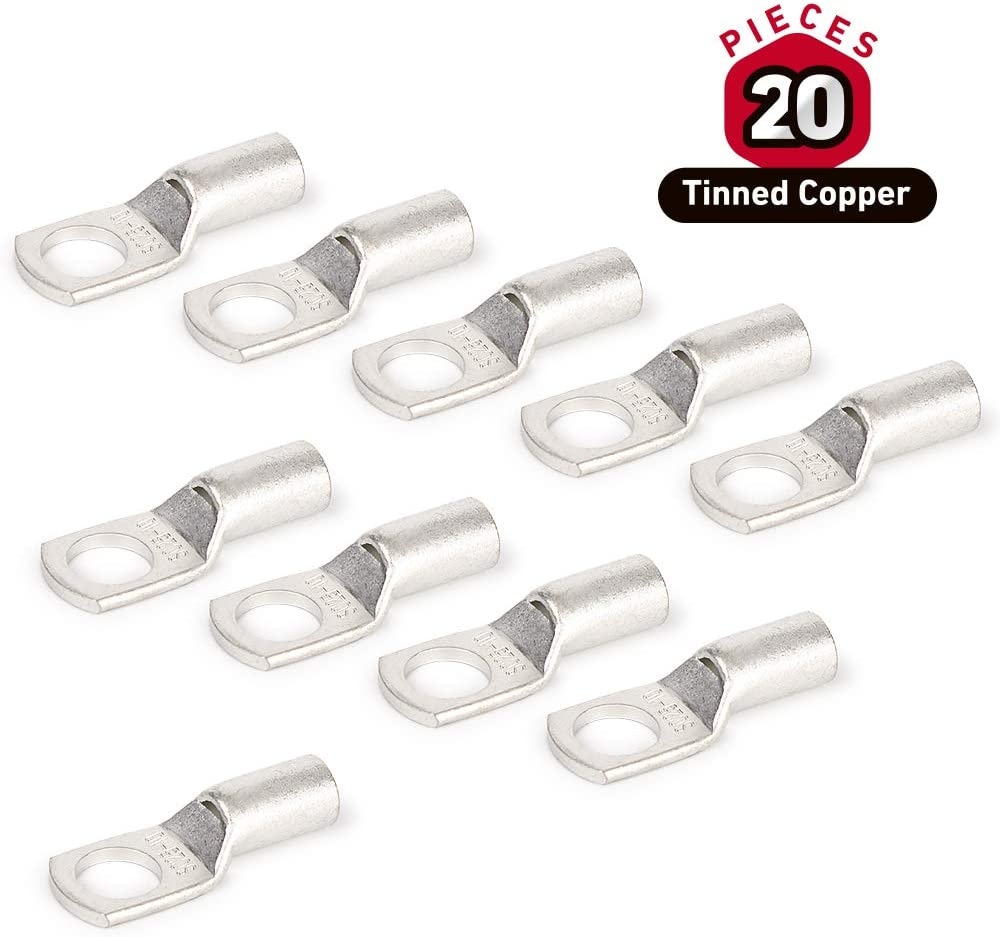 RIOCAN 20Pcs 4 AWG Heavy Duty Wire Cable Lugs Bolt Hole Tinned Copper Eyelets Tubular Battery SC Ring Terminals Connectors (SC25-10)