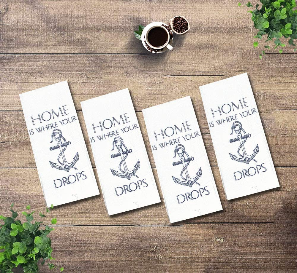 MaBelle 4 Pcs, 100% Cotton Nautical Design Funny Flour Sack Printed Kitchen Towels Size: 16 inches by 28 inches. (4, Anchor Drops)