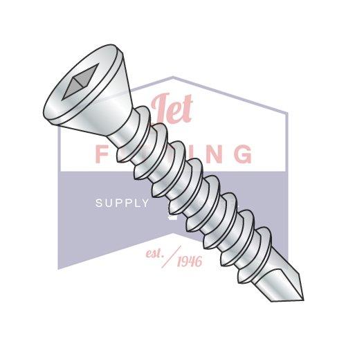 8-18 x 1 1/4 Square Drive Flat Trim Head Self Drilling Screw Fully Threaded Zinc and Bake (Quantity: 3000 pcs)