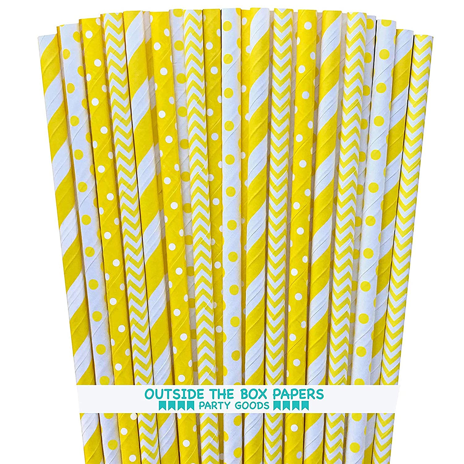 Yellow and White Paper Straws - Stripe Chevron Polka Dot - 7.75 Inches - Pack of 100 - Outside the Box Papers Brand