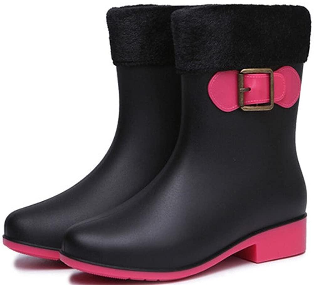 Rain Boots Women Mid-Calf, Cute Pull-on Antiskid Waterproof Rain Footwear