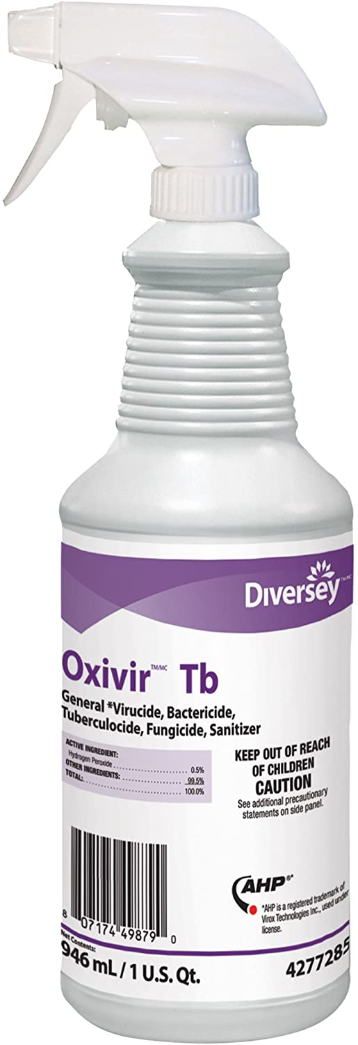 Diversey Oxivir TB One-Step Disinfectant Cleaner, 32oz Bottle, 12/Carton