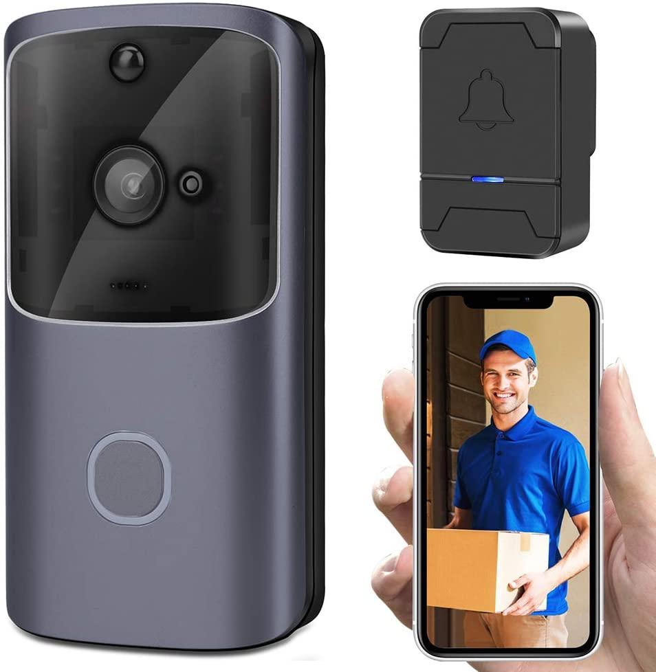 MUYIER Wireless Doorbell, Smart Doorbell WiFi Visual Doorbell Smart Home Remote Monitoring with Two-Way Talk Night Vision Low Power Video Doorbell