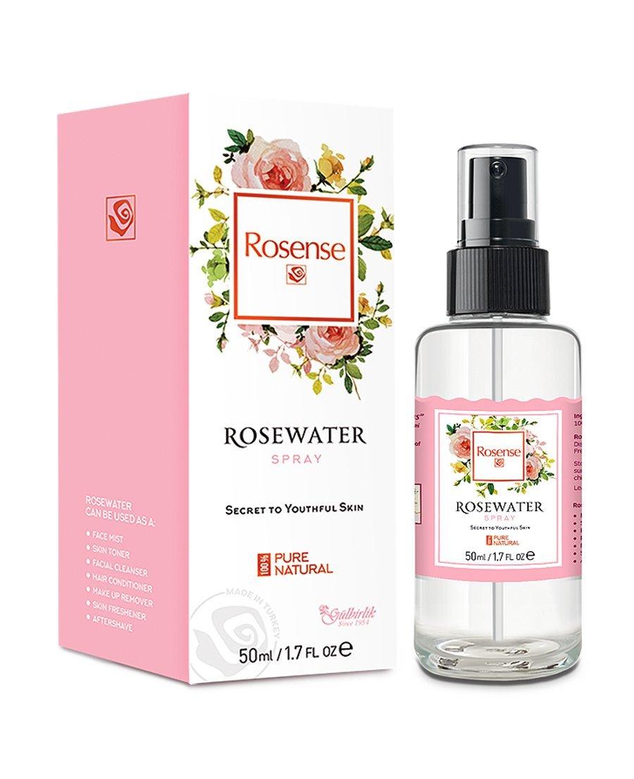 Rosense Glass Bottle Rosewater Hydrating Facial Toner/Rose Water Face Mist 1.7 Oz
