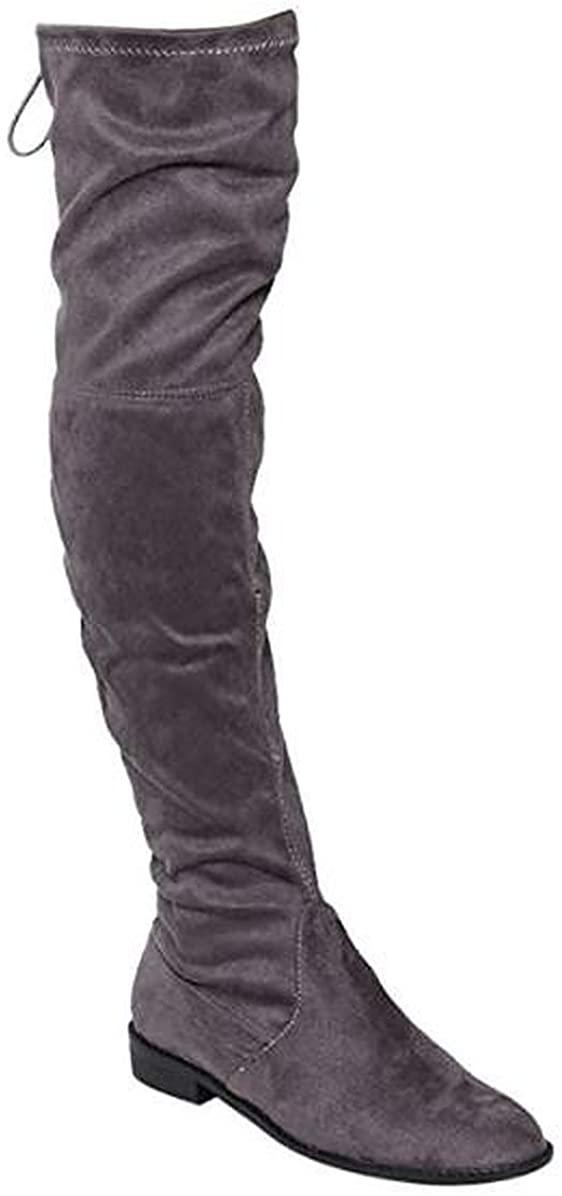Yoki Anora Women's Stretchy Over The Knee Block heel Dress Boots (8, Grey)