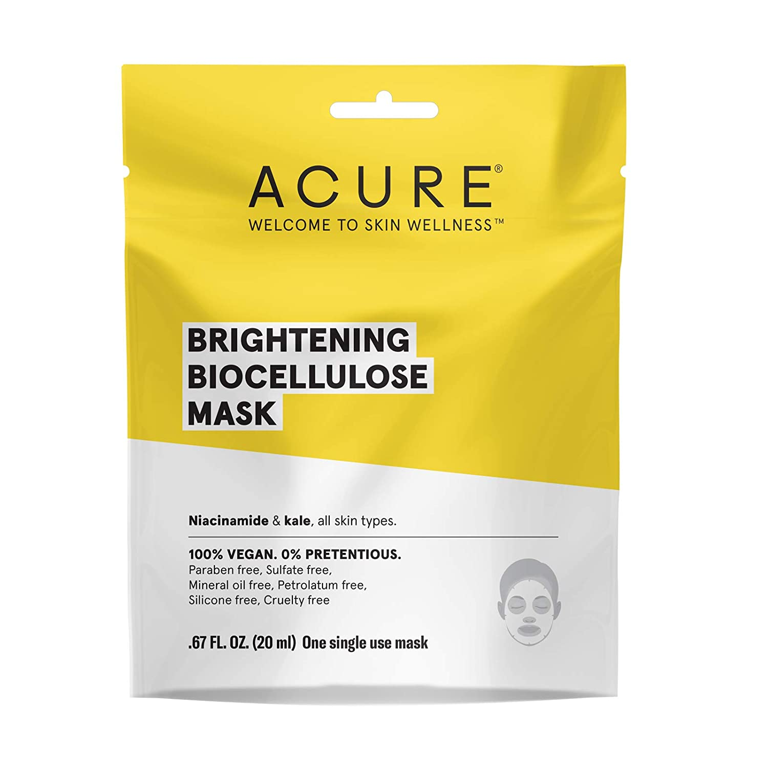 ACURE Brightening Biocellulose Gel Mask   100% Vegan   For A Brighter Appearance   Niacinamide & Kale - Vitamin B3   One Single Use   All Skin Types   5 Pack