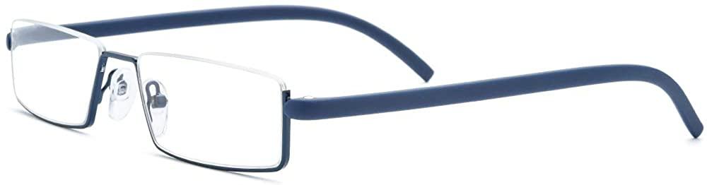 FONEX Slim Half Rim Memory Flex Reading Glasses With Coating Lens 5888