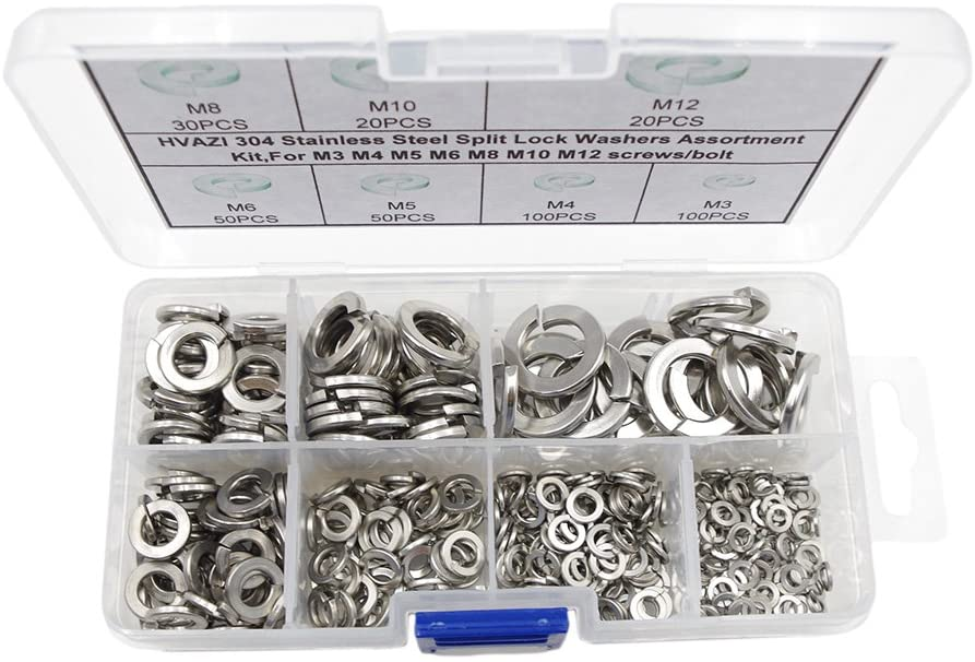 HVAZI 370PCS Stainless Steel Split Lock Washers Assortment Kit,for M3 M4 M5 M6 M8 M10 M12 Screws/Bolt
