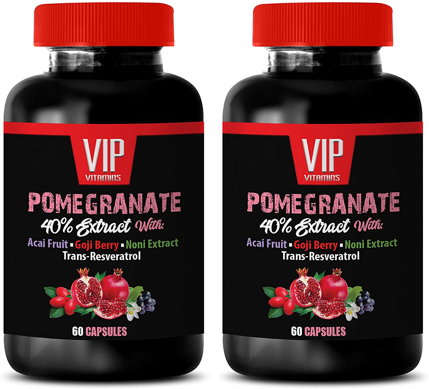 Weight Loss Fat Burner Supplements - Pomegranate Extract Formula - with ACAI, NONI, RESVERATROL and Goji Berry - Elderberry Extract Pills - 2 Bottles 120 Capsules