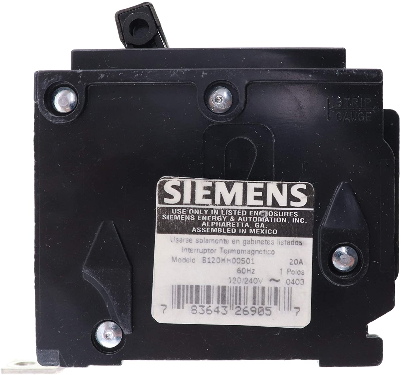 Siemens B120HH00S01 Shunted Circuit Breaker, HBL, 1-Pole, 20A, 65kA, 120/240V