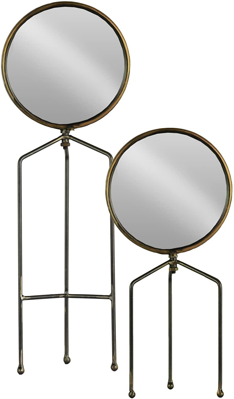Urban Trends 38819 Round Tabletop Mirror with Tripod Legs Metallic Finish Gunmetal (Set of 2), Gray, 2 Piece