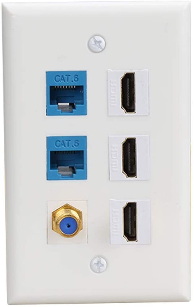 HDMI Wall Plate Decorative,HDMI Ethernet Coax Cable TV F-Type Wall Plate(White) - 3 Port HDMI + 2 Cat6 Ethernet + 1 Coax