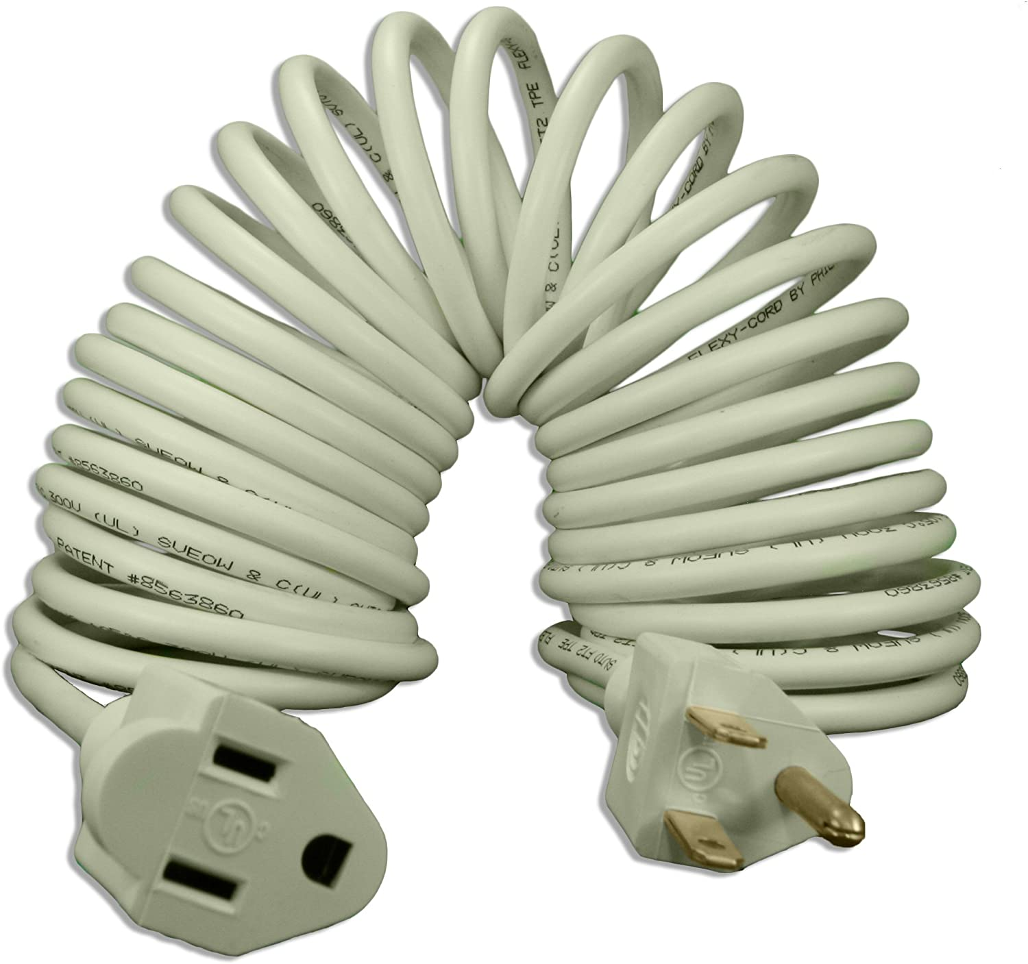Flexy Coiled Extension Cord 18 Gauge 10 Amps - Extends From 7 In. To 15 Ft.
