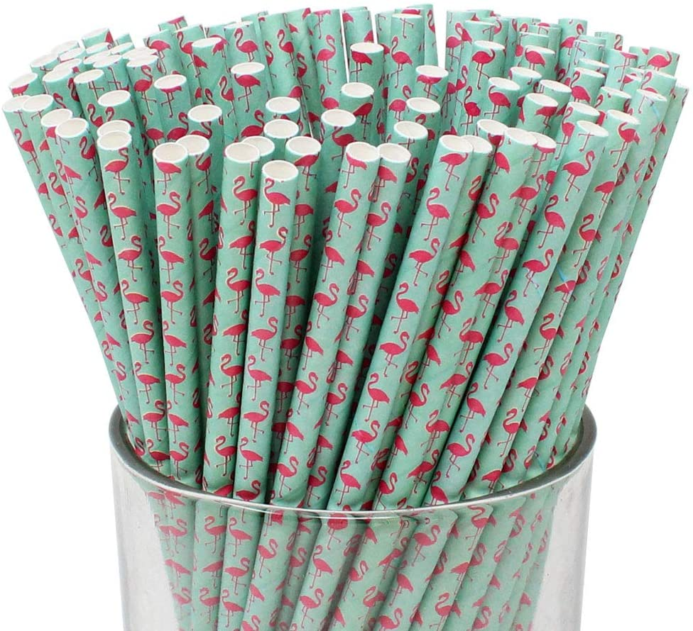 Just Artifacts Premium Biodegradable Paper Straws (100pcs, Flamingo)