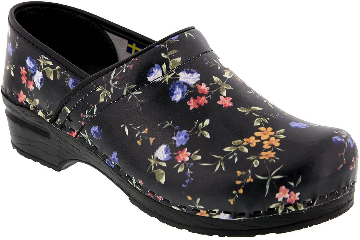 Bjork Professional Mimosa Floral Leather Clogs