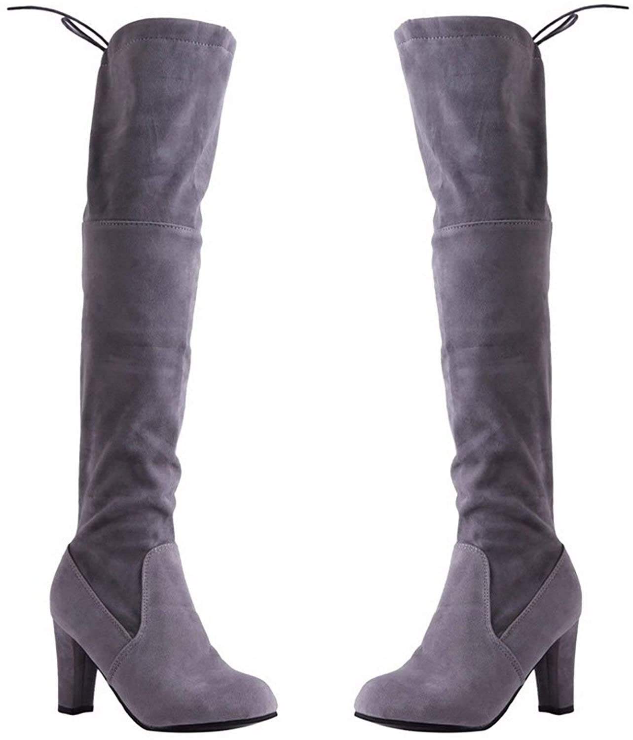 Have Fun With U Women High Heel Boots Ladies Over The Knee Boots Female Winter Shoes Women,Gray,9.5