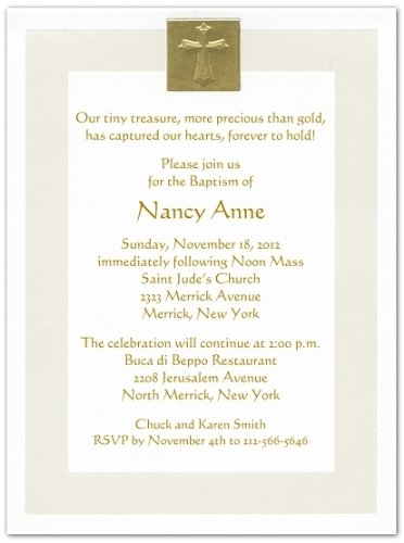 Gold Foil Cross and Pearl Border Baptism Christening Invitations - Set of 20