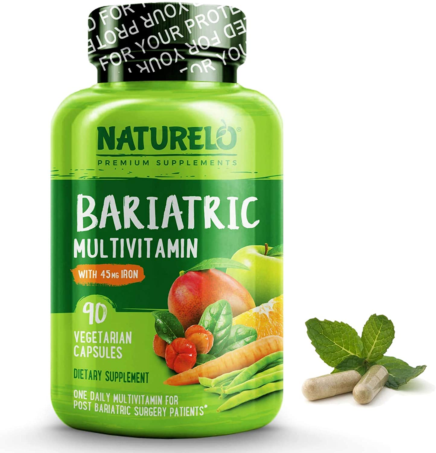 NATURELO Bariatric Multivitamin One Daily with 36 mg Iron - Best Supplement for Post Gastric Bypass Surgery Patients - Natural Whole Food Nutrition - 90 Veggie Capsules