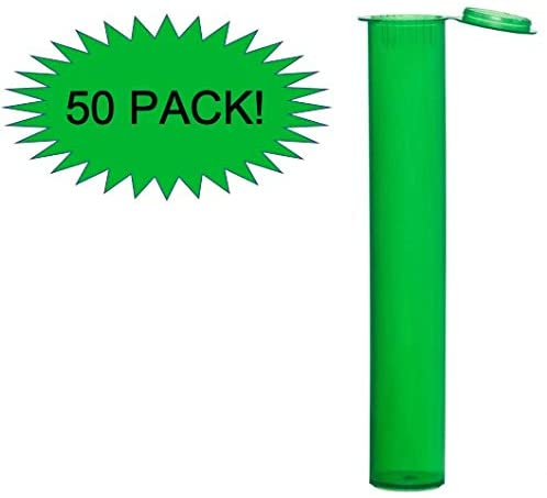 Pre Roll EZ Squeeze Smell Proof Doob Tube for Blunts Joints and Cigarettes for Easy Safe On The Go Travel Storage - 4.5 Inch (50 - Green)
