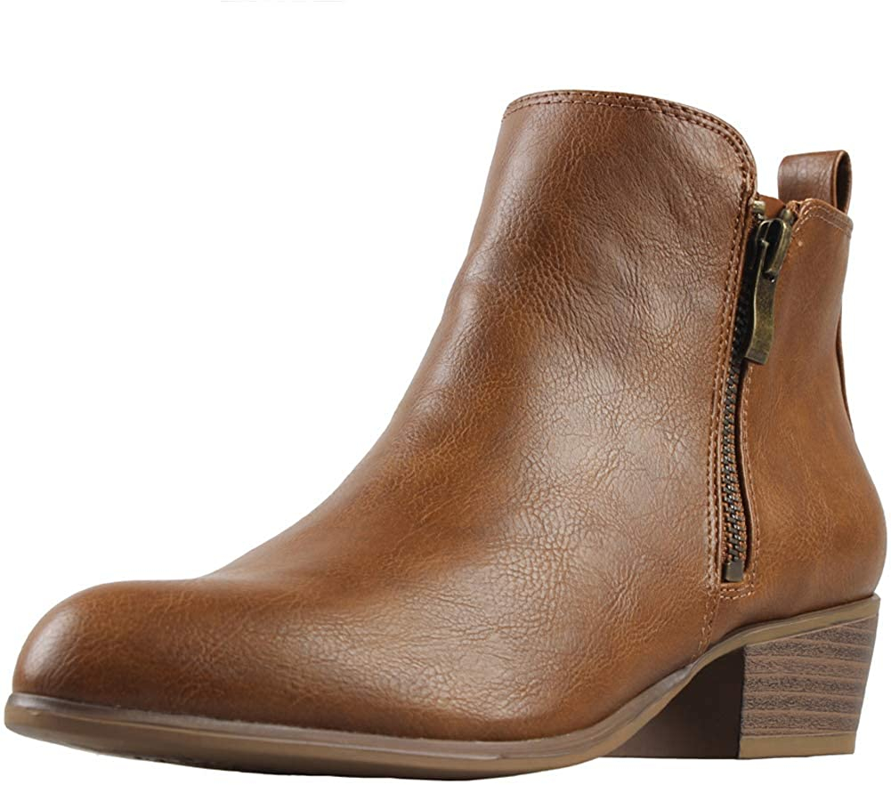 PhiFA Womens Synthetic Leather Ankle Boots Zipper Closure Stacked Block Heel