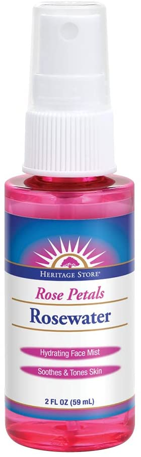 Heritage Store Rosewater Spray   Hydrating Mist for Skin & Hair   No Dyes or Alcohol, Vegan   2 oz