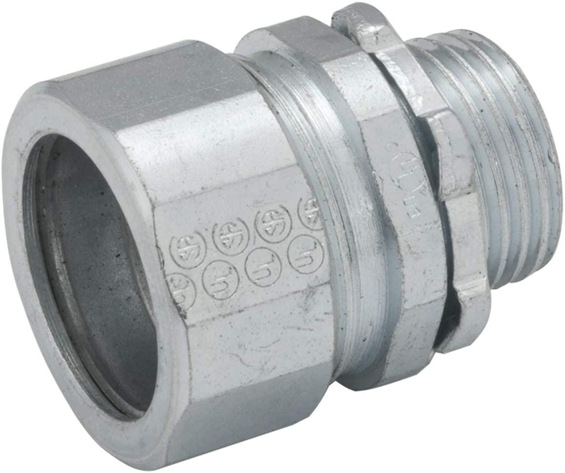 Hubbell-Raco 1808-1 Connector, Compression, 2-Inch Trade Size, Rigid/IMC Conduit, Steel